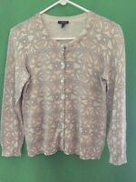 8335) TALBOTS sz large petite LP gold beige cardigan sweater cotton blend fitted