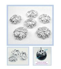 925 Solid Sterling Silver 8mm 4 Heart Bead Cap Jewelry Findings  10pcs #5405-3