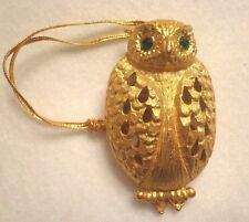 COLLECTIBLE OWL HANGING ORNAMENT WITH OPEN FILIGREE DESIGN - GOLD TONE