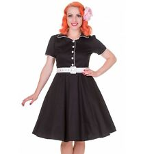Swing Dress 20 Negro Estilo Años 50 Vestido Talla 20 Rockabilly Vestido uk20 Pinup Girl