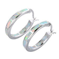 US 925 Silver Blue Fire Opal Circle Hoop Earrings Wedding Jewelry Gift For Women