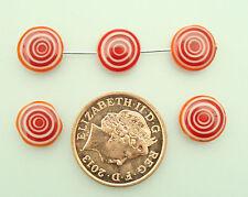 35 Rojo/blanco Murano Plana Disco granos para la fabricación de joyas tamaño (mm) 10