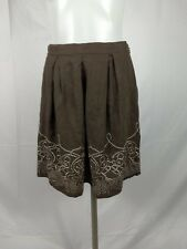 ELIE TAHARI Womens Linen Skirt Size 2 Pleated Embroidered Brown Casual B13/321