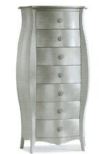 Cassettiera bombata argentata classica colore foglia argento mobile camera letto