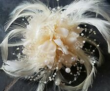 CREAM Flower Feather, lots of Beads. 3in1 corsage, Hair clip Fascinator. WEDDING