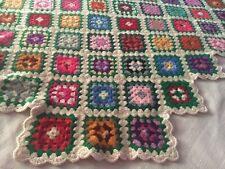Granny Square Vintage Afghan Throw Blanket Handmade Crochet Multicolor Wool 58