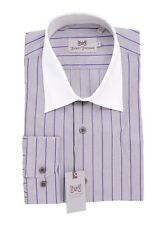 Hickey Freeman Grey Purple Striped Contrast Collar Cotton Dress Shirt 18.5 36/37
