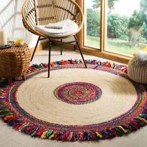 Rug 100% Natural Jute & Cotton Bohemian Reversible Round Area Dhurrie Carpet Rug