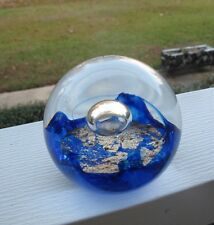Selkirk Glass Paperweight Handmade in Scotland Signed Numbered Blue & Clear