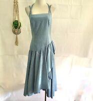 Vintage ANTHEA CRAWFORD 80s Light Blue Denim Glitter Spot Midi Party Dress - XS