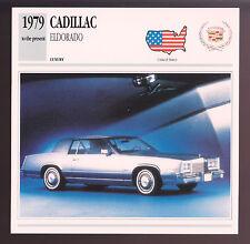 1979-1991 Cadillac Eldorado Car Photo Spec Sheet Info Stat ATLAS CARD
