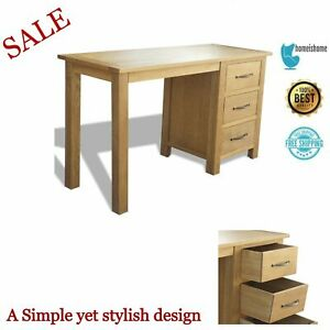 OAK Desk Wooden Computer Table 3 Drawers Home Office Storage Writing Study Room