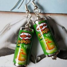 Unique PRINGLES EARRINGS handcrafted SOUR CREAM & ONION retro SNACK pop CAN cute