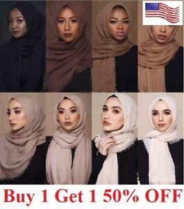 6x3 FT Cotton Women Viscose Maxi Crinkle Cloud Hijab Scarf Shawl Islam Muslim