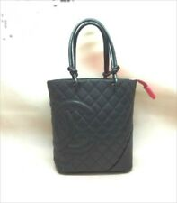 CHANEL CC Cambon Line Medium Tote Hand Bag Leather Black A25167 Used