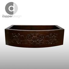 """Hand Hammered Copper Round Apron Farmhouse Kitchen Sink Design 2, 33""""x22"""""""