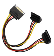 IDE (Molex) 4 pin power cable adaptor to 2 x SATA device, 90° ends.