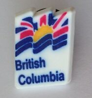 British Columbia Flag Plastic Souvenir Pin Badge Rare Vintage (E1)