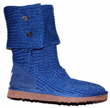 UGG WOMENS ( WORN TWICE ) CLASSIC CARDY KNIT ANKLE CALF BOOTS IN BLUE SIZE-9