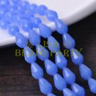 New 30pcs 12X8mm Faceted Teardrop Glass Spacer Loose Beads Jade Blue