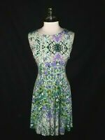 CYNTHIA ROWLEY Size 14 A-Line Dress Green Purple Floral Sleeveless Knee Length