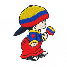 COLOMBIA LITTLE BOY COUNTRY FLAG IRON-ON PATCH CREST BADGE SIZE: 3 X 2 INCH..NEW