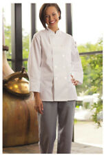 One Lot of 10 Women's Chef Coats, Long Sleeve. Color: White - Size: XL - 475