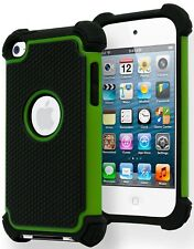 Hybrid Armor Case for Ipod Touch 4, 4th Generation - Green & Black