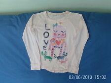 Girls 8 Years - Pink Long-Sleeved Top - Robots & Cats Motif 'Love'