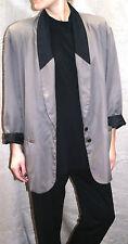 "VINTAGE 80s PLUS SIZE ladies BLAZER taupe & black 48"" bust jacket LINED padded"