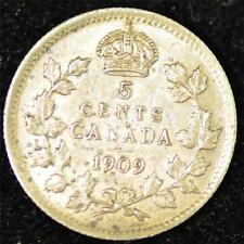 1909 XF, Cross/Bow Tie, Pointed Leaves, Canadian Five Cents Silver #3