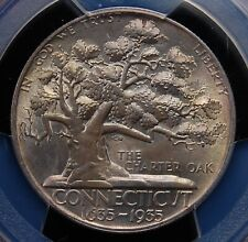 1935 CONNECTICUT COMMEMORATIVE HALF DOLLAR PCGS MS 64 EXCELLENT LUSTER & PATINA