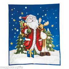 Santa and Rudolph Grand Couverture polaire Décoration de Noël 160 x 130 cm