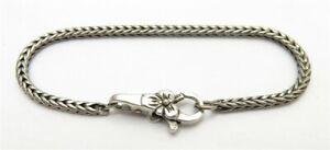 """TROLLBEADS Sterling Silver Charm Bracelet w/ Flower Clasp 7.5"""""""