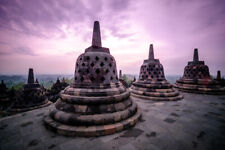 Borobudur Temple Compounds Java Indonesia Photo Art Print Poster 18x12 inch