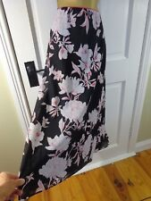 Jacques Vert Black Floral Lined Skirt, UK 20, Excellent Condition