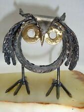 Vtg Steel Owl Stone Base Artwork mid century brutalist danish modern jere era