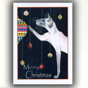 Siamese Cat art Christmas cards from original painting 6 pack by Suzanne Le Good