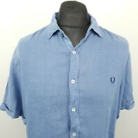 Fred Perry Mens Vintage Linen Shirt 2XL Short Sleeve Blue Slim Fit Linen