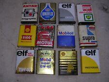 Bidons anciens huile, lot de 12, Antar, Esso, BP, Shell, Mobil, Elf, Motul.....