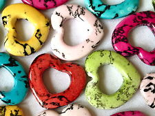 20 MIX COLOUR HEART PLASTIC CABOCHON CHARMS JEWELLERY MAKING CRAFTS 28mm CHP0164