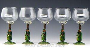 Jere ENAMELED & SWAROVSKI CRYSTALS GOLF BAG WINE GLASSES GOBLETS Set 5 Unused
