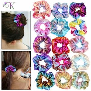 16X Shiny Velvet Hair Scrunchies Ponytail Holder Elastic Hair Ties Bands New UK