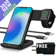 2 in 1 Qi Fast Wireless Charger Charging Stand For Apple Watch iPhone 11 Samsung