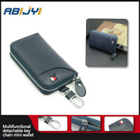 Leather Men's car key bag multi function business key box/manager/Chains Blue