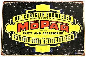 New Mopar Retro Tin Metal Sign Art Vintage Style Man Cave Garage Auto Car Parts