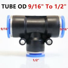 5X Pneumatic Reduced Tee Union Push In Fitting Tube OD 9/16 To OD 1/2 One Touch