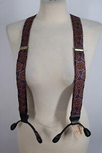 Vtg NWT Neiman Marcus Paisley Silk Leather Braces Suspenders