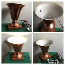 Ancienne Lampe De Bureau , Table , Chevet Cuivre Et Bois  Éclairage Luminaire