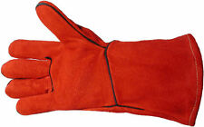 WOODBURNER GLOVES FIREPLACE STOVE LONG LINED WELDERS GAUNTLETS LOG FIRE FREE P&P